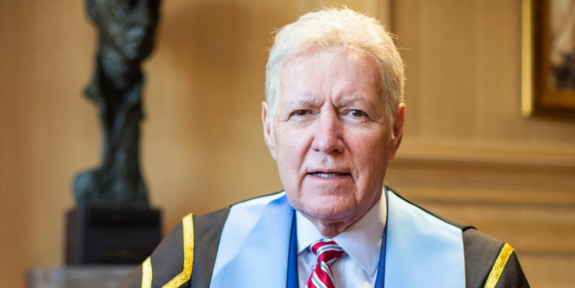 Alex Trebek poses in the Presidential robes of the RCGS