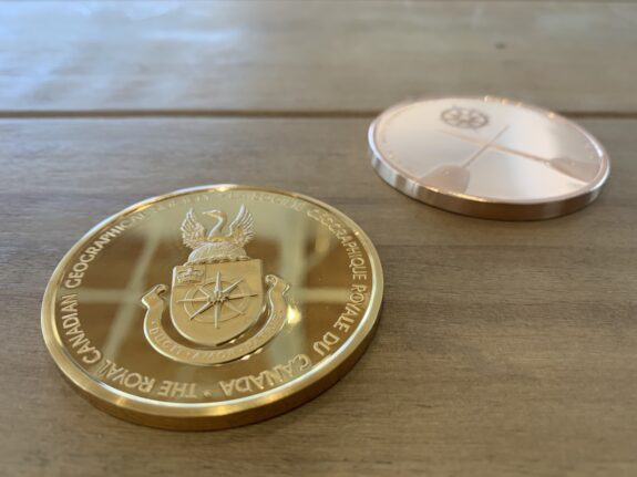 Medals on wooden table